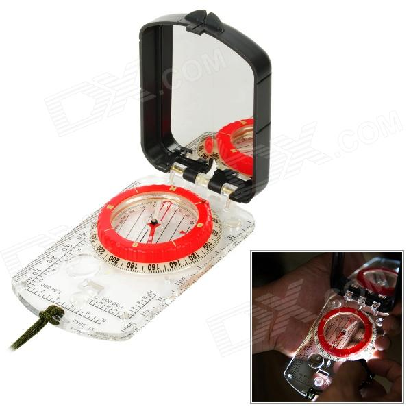Naturehike ZNZ09 Flip-Open Glow-in-the-Dark Compass w/ Light / Ruler / Mirror / Neck Strap - Black