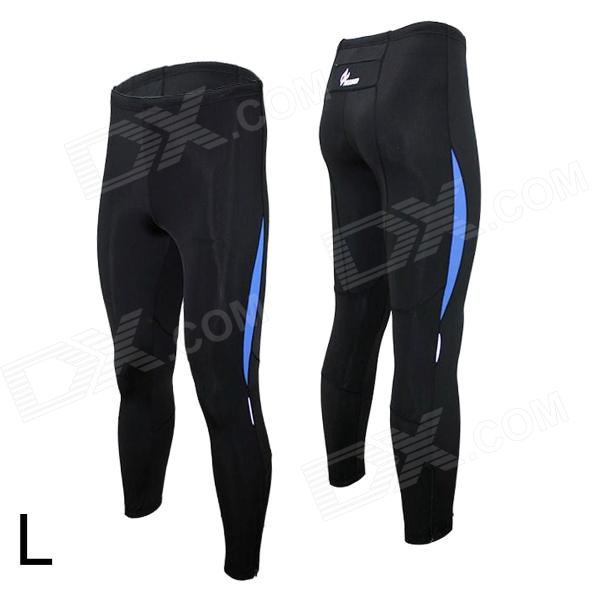 ARSUXEO 9012 Sports Quick-Dry Running Tight Pants - Black + Blue (L)