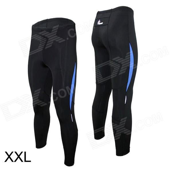 ARSUXEO 9012 Sports Quick-Dry Running Tight Pants - Black + Blue (XXL)
