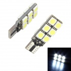 Merdia T10 1.2W 144lm 12-SMD 5050 LED White Light Car Lamps - (DC 12 / 2 PCS)