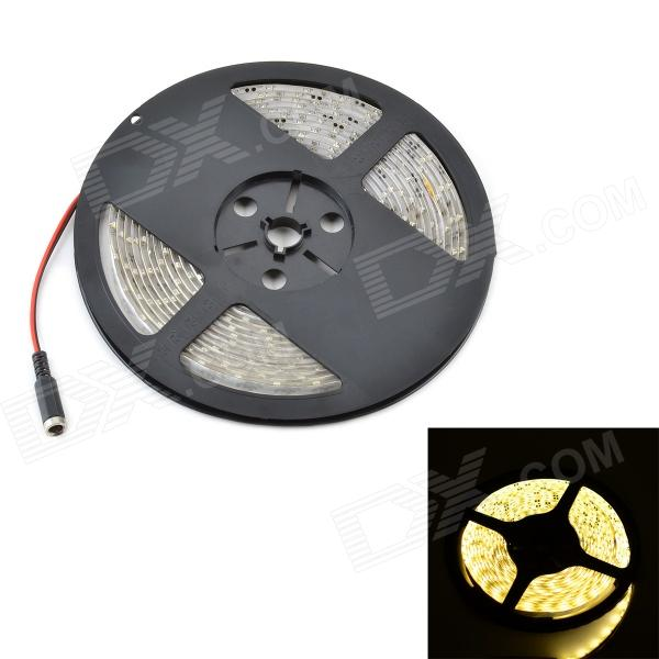Waterproof 12.5W 1200lm 3500K 300-SMD 3528 LED Warm White Light Flexible Strip + Controller - (5M) led strip color changing 5m 5050 rgbw led light strip remote controller 12v 2a power supply rgb white indoor for decoration