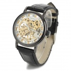 OMEIJIA Men's Skeleton Aluminum Alloy Mechanical Self-winding Analog Wrist Watch - Black + Golden