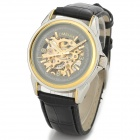 OMEIJIA Men's Aluminum Alloy PU Band Self-Winding Mechanical Analog Wrist Watch - Black + Gold