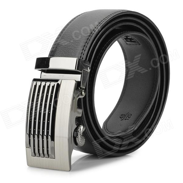 Fashion Split Leather Belt w/ Zinc Alloy Buckle for Men - Black + Silver