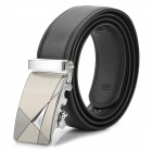 Men's Durable Business Leather Belt w/ Buckle - Black + Silver