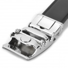 Men's Fashionable Durable Business Leather Belt w/ Zinc Alloy Buckle - Black + Silver