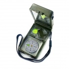 Multifunctional Outdoor Compass w/ Gradienter / 20X Magnifier / Whistle / Flint - Green