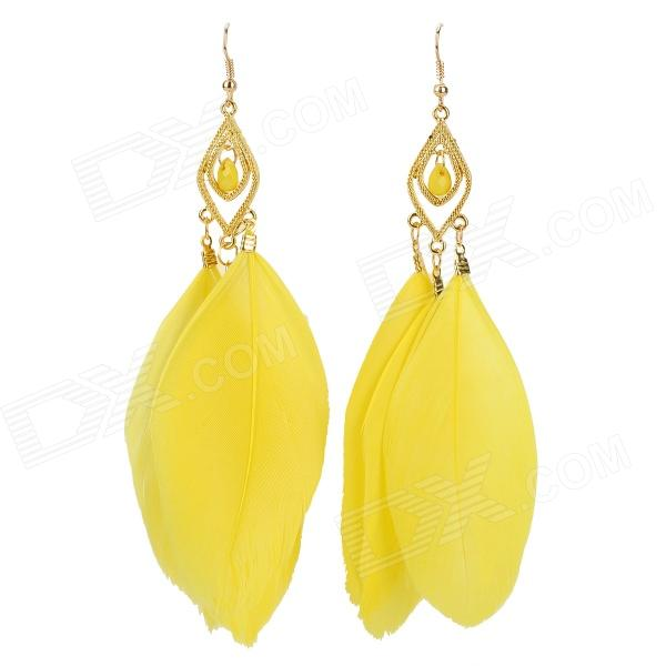 Feather Zinc Alloy Dangle Earrings For Women Yellow Pair