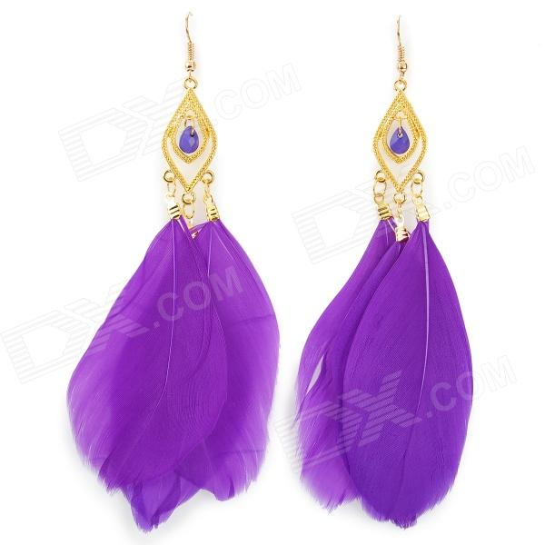 Feather + Zinc Alloy Dangle Earrings for Women - Purple (Pair) square shaped stylish crystal zinc alloy stud earrings black bronze pair
