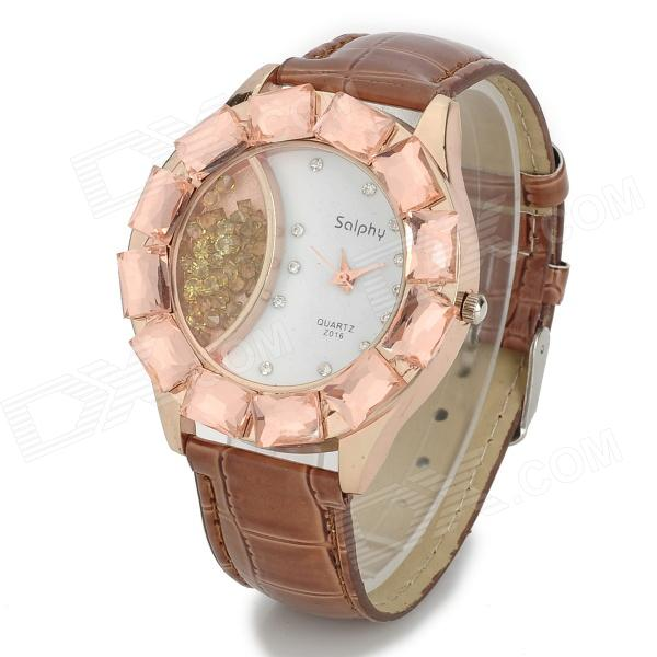 Women's Round Copper Dial w/ Rhinestones Zinc Alloy PU Band Quartz Analog Wrist Watch - Coffee