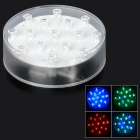 Colorful 15-LED Under Vase Light - Transparent White (3 x AA)
