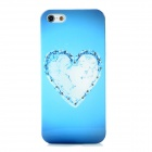 Elegant Love Heart Style Protective Rhinestone + Plastic Back Case for Iphone 5 - Blue