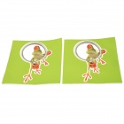 JHD001 Lizard Looking in the Magnifier Pattern PVC Car Decorative Stickers - Green + Red (2 PCS)