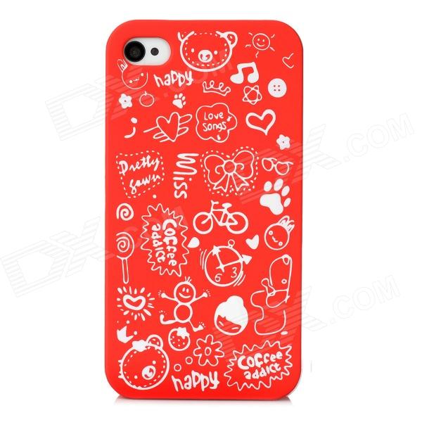 Cartoon Pattern Protective Matte PC Back Case for Iphone 4 / 4S - Red airress waterproof case cover for iphone 7 plus