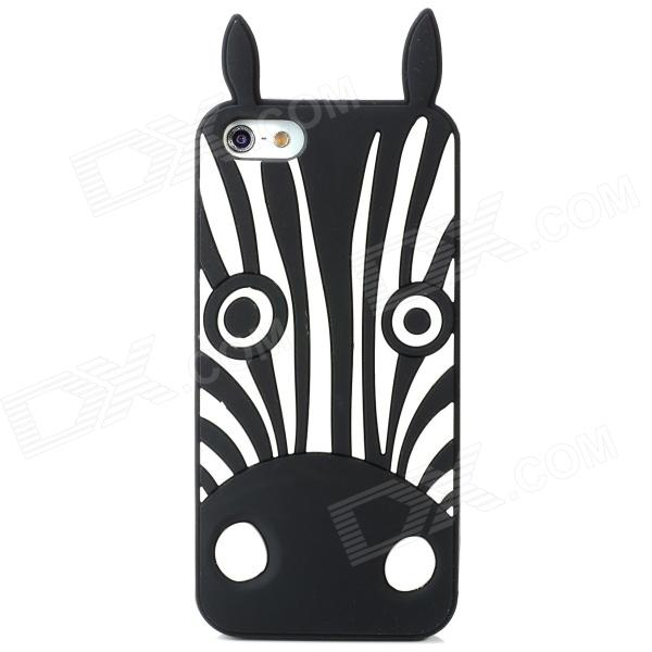 купить Protective Zebra Stripe Silicone Back Case for Iphone 5 - Black + White недорого