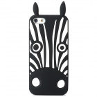 Protective Zebra Stripe Silicone Back Case for Iphone 5 - Black + White