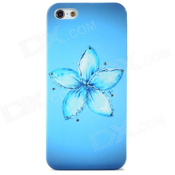 Elegant Flower Style Protective Rhinestone + Plastic Back Case for Iphone 5 - Blue protective plastic case for iphone 5c blue