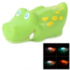 6102 Cute Children Bathing Funny Colorful LED Flashing Yellow Dot Crocodile Toy - Green