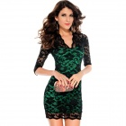 LC2836-4 Fashionable Sexy Ladies V-Neck Mini Slim Half-Sleeves Lace Dress - Black + Green (Size-L)