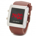 060901 Fashion Zinc Alloy Case Silicone Band LED Digital Wrist Watch for Men - Brown + Silver