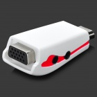 Mini HDTV HDMI Male to VGA Female Projector Converting Adapter w/ 3.5mm Jack - White + Red