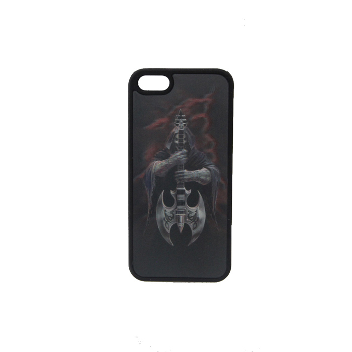 3D Skeleton with Pipa Axe Style Protective Back Case for Iphone 5 - Black + White + Orange cool skeleton style protective pc back case for iphone 4 4s white red black