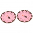 Lace Design Rabbit & Flowers Pattern Dual Layer Silicone Cup Mat Coaster - Brown + Pink (2 PCS)