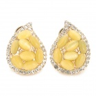 KCCHSTAR Stylish Zinc Alloy + Cat's Eye + Crystal Earrings for Women - Yellow (Pair)
