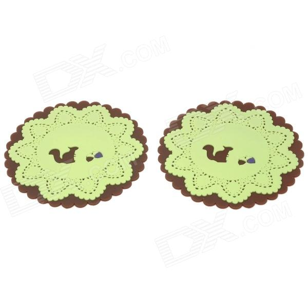 Lace Design Squirrel Pattern Dual Layer Silicone Cup Mat Coaster - Brown + Green (2 PCS) unique disk style silicone heat insulation cup pads blue black 2 pcs