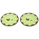 Lace Design Squirrel Pattern Dual Layer Silicone Cup Mat Coaster - Brown + Green (2 PCS)