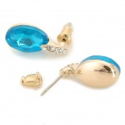 KCCHSTAR Zinc Alloy + Crystal + Rhinestones Earrings for Women - Blue + Golden (Pair)