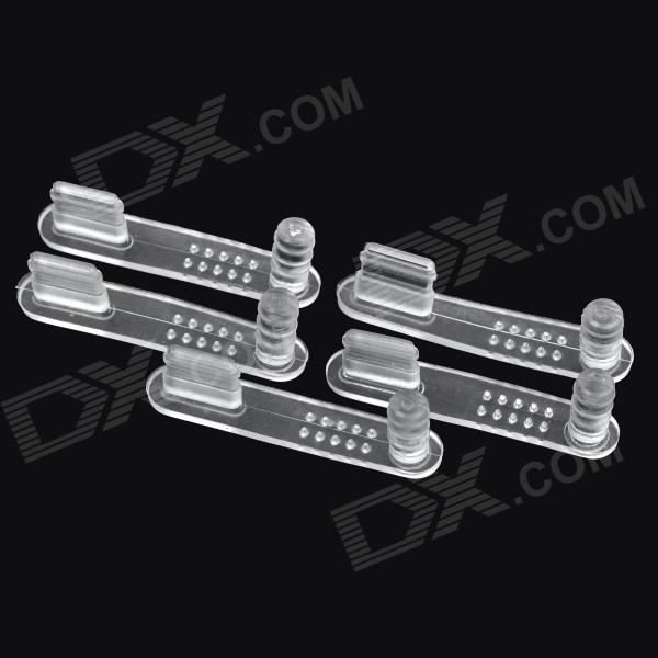2-in-1 Silicone 8 Pin Lightning Port + 3.5mm Audio Jack Anti-Dust Plug Set - Transparent (5 PCS)