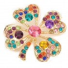 Stylish Four Leaf Clover w/ Sparkling Inlaid Rhinestone Decorative Brooch - Multicolored