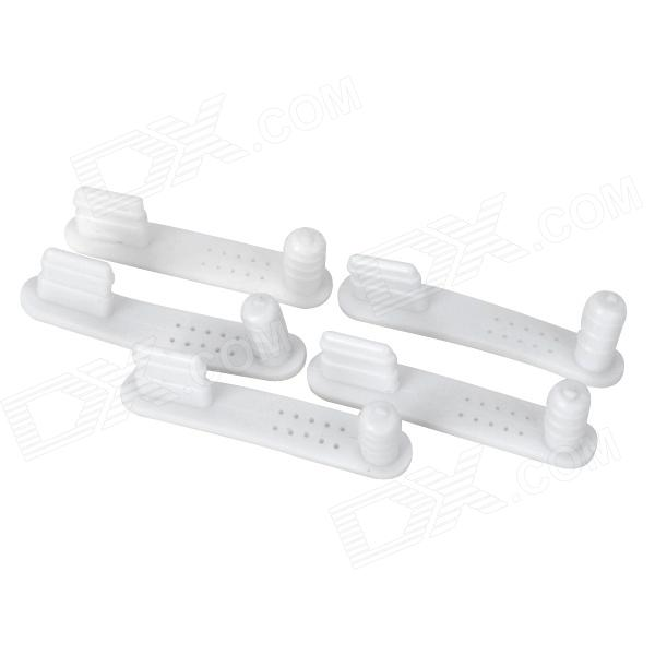 2-in-1 Silicone 8 Pin Lightning Port + 3.5mm Audio Jack Anti-Dust Plug for Iphone 5 - White (5 PCS)