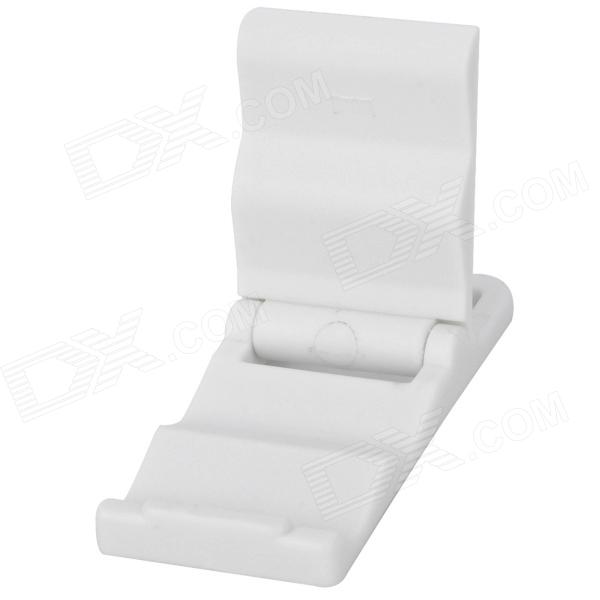 Mini Folding Plastic Stand Holder for Mobile Phones - White plastic desktop stand holder for cell phones white