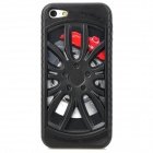 Electroplating Wheel Design Protective Silicone + Plastic Back Case for Iphone 5 - Black