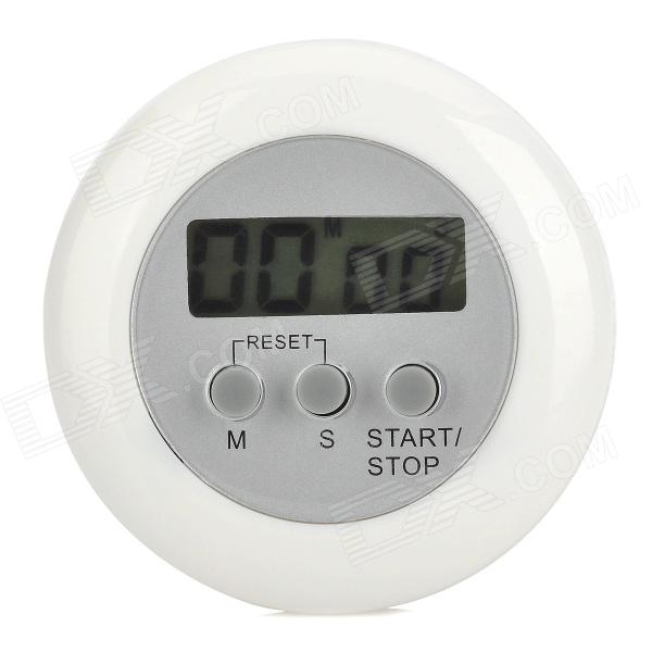 "Handy 1.3"" Screen Round Electronic Countdown / Stopwatch Timer w/ Holder - White + Gray (1 x AG13) от DX.com INT"