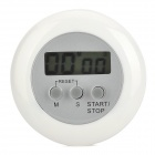 "Handy 1.3"" Screen Round Electronic Countdown / Stopwatch Timer w/ Holder - White + Gray (1 x AG13)"