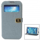 Protective PU Leather + ABS Case w/ Holder for Samsung Galaxy S4 i9500 - Grey + Black