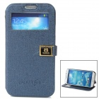 Protective PU Leather + ABS Holder Case for Samsung Galaxy S4 i9500 - Deep Blue + Black