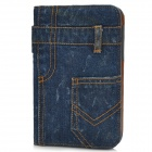 Stylish Jeans Pattern Protective Flip-open PU Leather Case w/ Holder for Samsung P3100 - Deep Blue