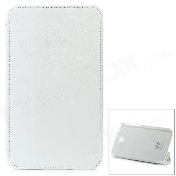 Cross Pattern Protective 3-Fold PU Leather + Micro Fiber Case for Samsung P3200 - White