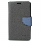 Protective PU Leather Case for Sony L36H - Black + Deep Blue