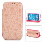 Cartoon Pattern Protective PU + Silicone Case for Samsung Galaxy S4 - Khaki + Deep Pink