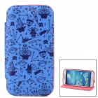 Cartoon Pattern Protective PU Leather + Silicone Case for Samsung Galaxy S4 i9500 - Blue + Deep Pink