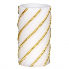 DFL JB-12215 3 x 6 Inch Flameless Real Wax Pillar LED Candle w/ Timer / Embossed Gold Pearl - White