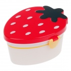 Cute Strawberry Style Lunch Box w/ Spoon / Fork - Red + Blackish Green + White (700mL)