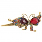 Retro Butterfly Style w/ Crystal + Rhinestones Decorative Hairpin for Women - Multicolored + Golden