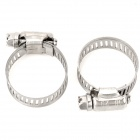JIAN MING JM-3056 Handy Helpful Stainless Steel Hose Clamp w/ Screw Bolt Closure - Silver (2 PCS)