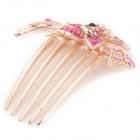 Flower Style w/ Rhinestones Hair Decorative Hairpin Comb for Women - Golden + Red